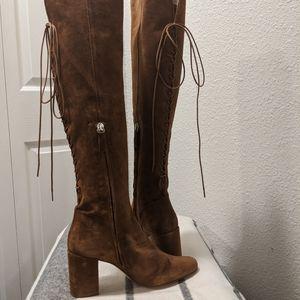Zara Brown Lace Back OTK Boot 8